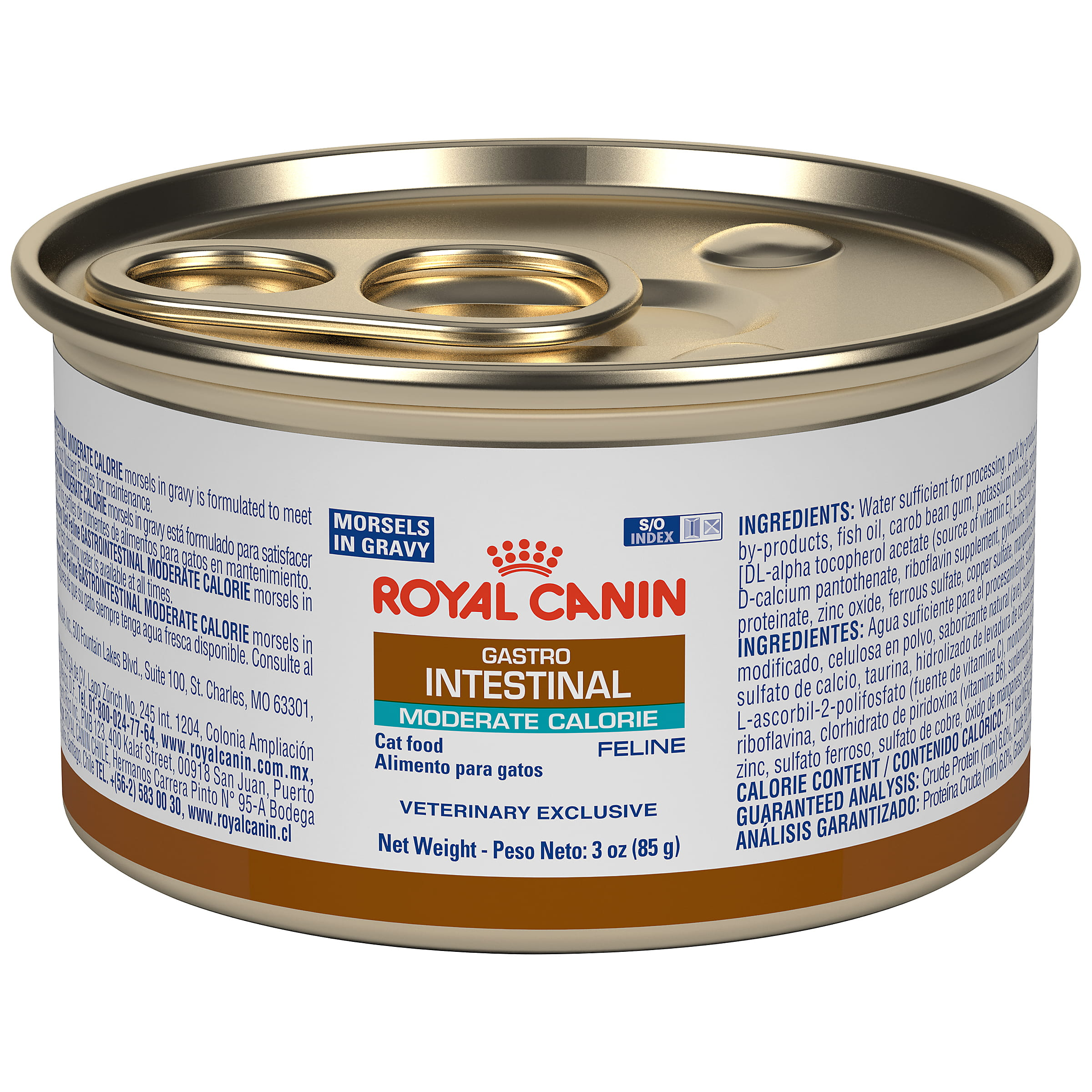 Royal Canin Veterinary Diet Feline Gastrointestinal Moderate Calorie Morsels In Gravy Canned Cat Food