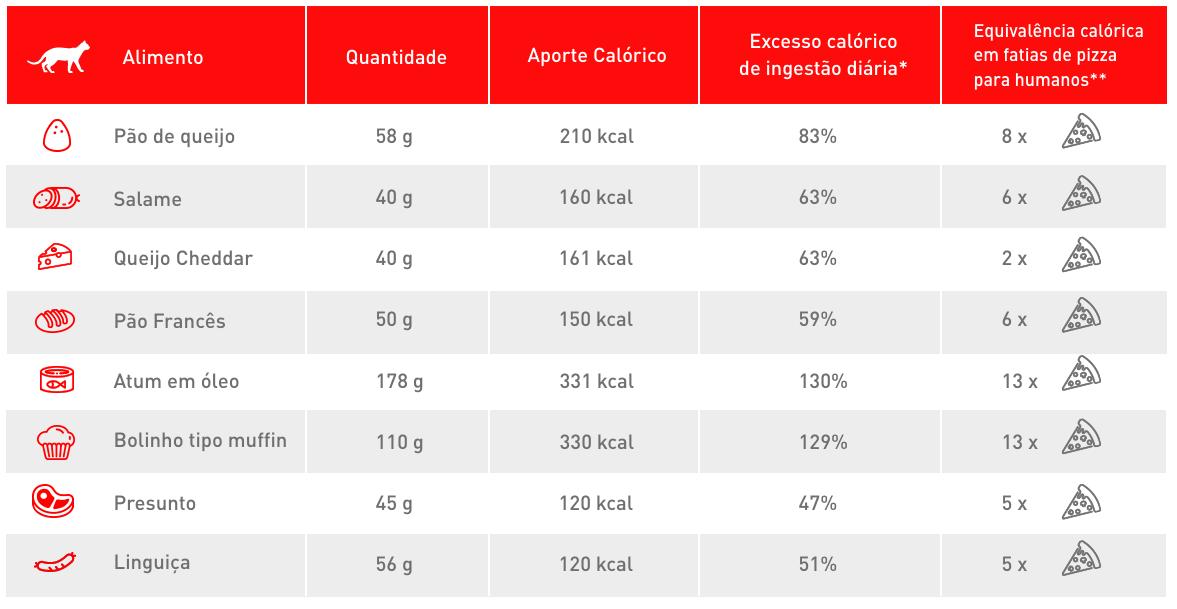 Tabela de calorias de alimentos não recomendados para gatos